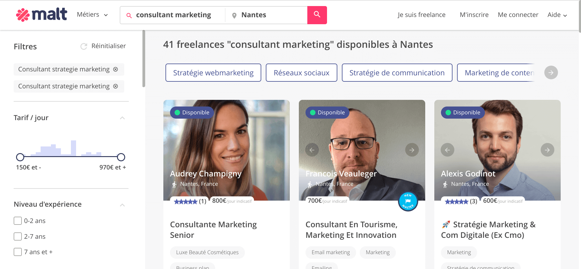 Regarder la concurrence des autres Freelances sur Malt
